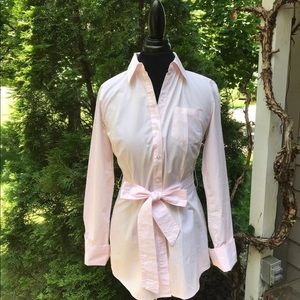 Preppy pink white strip blouse